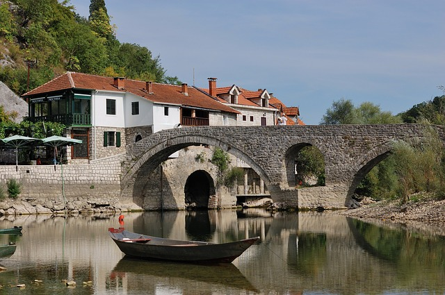 Montenegro, River, Bridge, A Stone Bridge, Lake, Boat