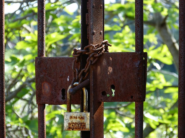 Closed, Symbol, Padlock, Abandoned, Bars, Rusty