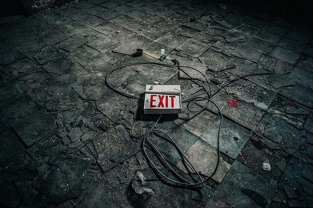 Abandoned, Broken, Concrete, Dark, Dirty, Exit, Sign