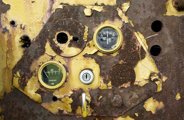 Rust, Industrial, Abandoned, Gauges, Engine