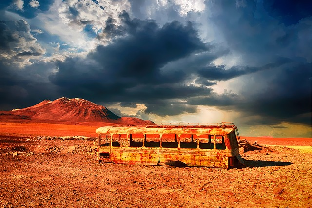 Abandoned, Wreck, Rusty, Bus, Coach