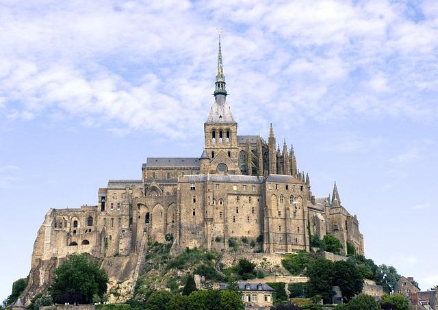 Mont, Saint, Michel, Normandy, France, Island, Abbey