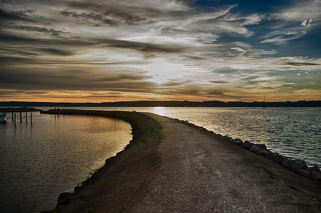 Fjord, Water, Mole, Förde Flensburg, Abendstimmung, Sea