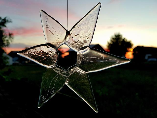 Star, Flower, Glass, Garden, Abendstimmung, Sunset