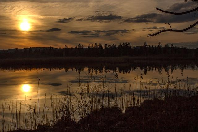 Moor, Sunset, Torfsee, Landscape, Abendstimmung