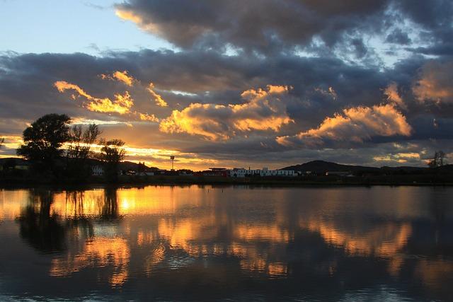 Lake, Clouds, Abendstimmung, Sunset, Sky, Nature