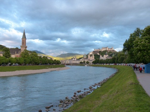 Salzburg, Abendstimmung, Salzach, River, Riverside