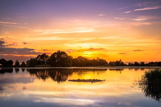 Sunset, Lake, Sky, Abendstimmung, Water Reflection