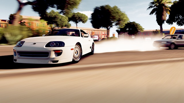 Toyota, Supra, Car, Above, Drift, Smoke, Video Game