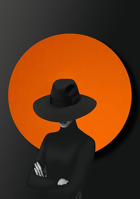 Circle, Woman, Hat, Arms Crossed, Mysterious, Abstract