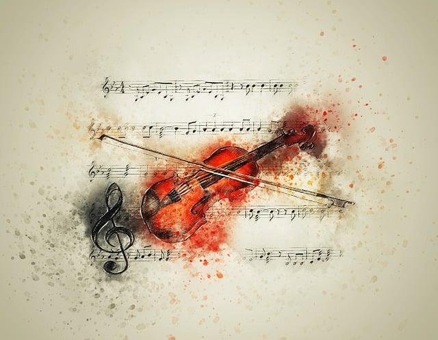 Violin, Music, Notes, Art, Abstract, Watercolor