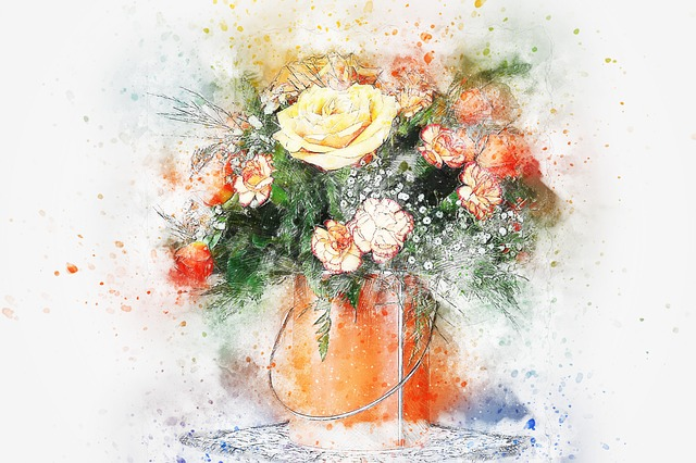 Flowers, Bouquet, Vase, Art, Abstract, Nature, Roses