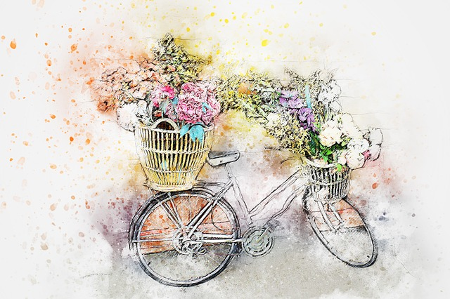 Bicycle, Flowers, Art, Abstract, Watercolor, Vintage