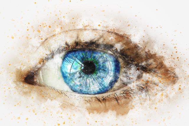 Eye, Blue, Girl, Art, Abstract, Watercolor, Vintage