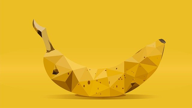Banana, Low, Poly, Art, Low Poly, Abstract, Design