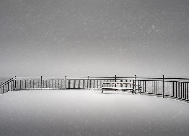 Abstract, Bank, Minimal, Snow, Winter, Fence