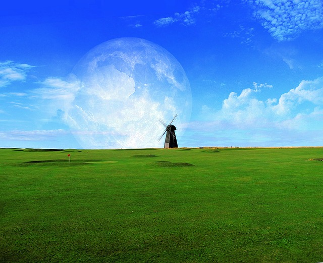 Artistic, Abstract, Grass, Turf, Nature, Windmill