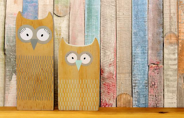 Owls, Abstract, Wood, Wooden Wall, Colorful, Figures