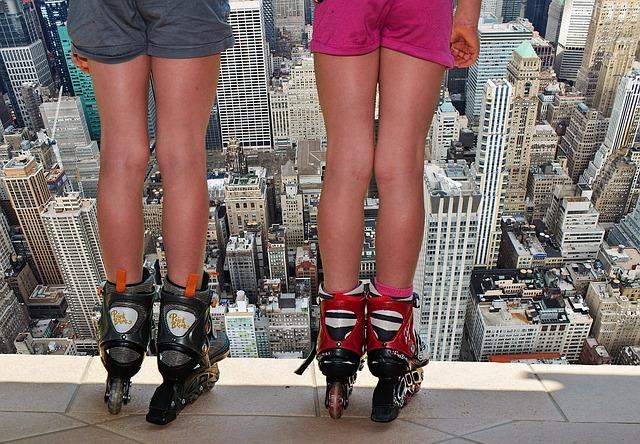 Girl, Inliner, Skates, Dangerous, Abyss, Risk