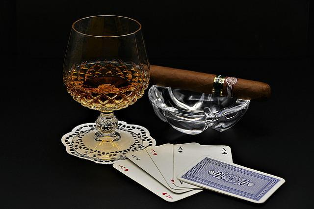 Cognac, Poker, Cigar, Playing Cards, Aces, Drink