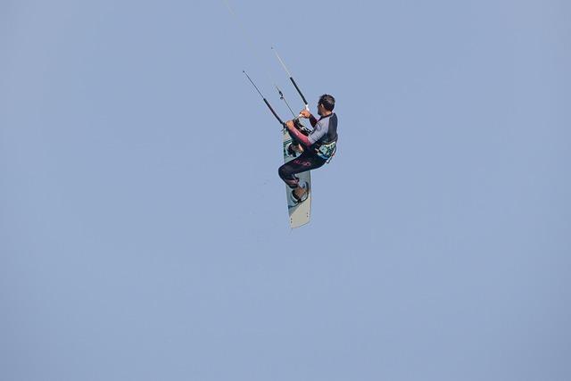Kitesurfing, Skill, Air, Flying, Action, Sky, Jump