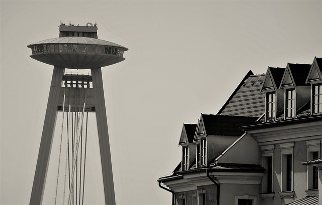 Lookout, Bratislava, Ufo, Buildings, Tall, Ad, Twilight