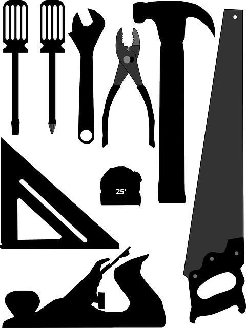Adjustable Wrench, Framing Square, Hammer, Hand Plane