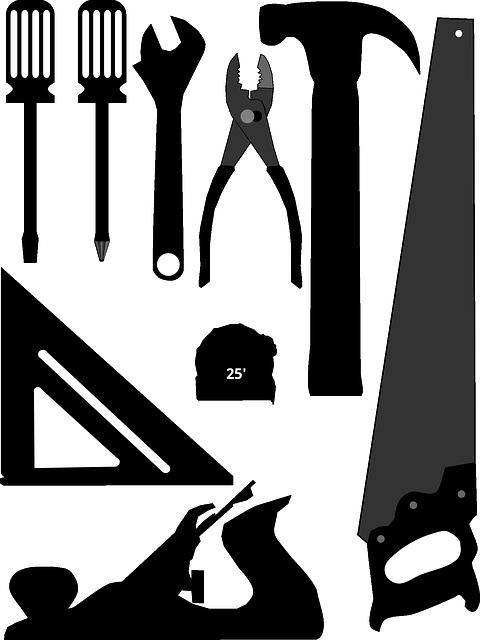 Adjustable Wrench, Framing Square, Hammer, Hand Plane