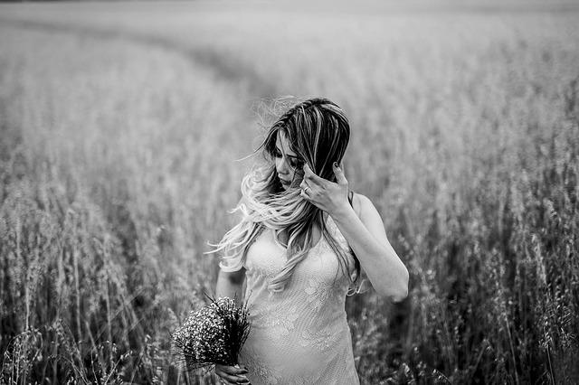 Adult, Beautiful, Bouquet, Bride, Dress, Fashion, Field