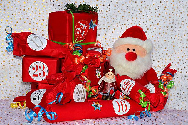 Advent, Advent Calendar, Gifts, Red, Santa Claus