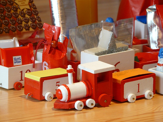 Wooden Train, Toys, Advent Calendar, Train, Gifts