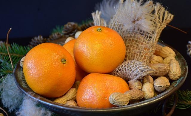 Tangerines, Peanuts, Nuts, Christmas, Winter, Advent