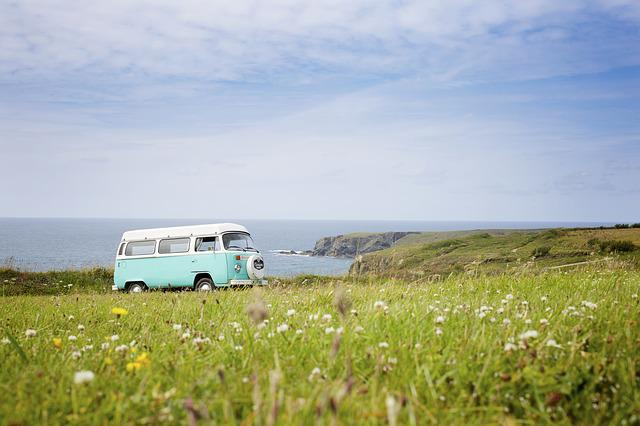 Vw Bus, Vw Bully, Volkswagen, Adventure, Sea, Grassland