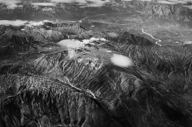 Aerial View, Greece, Crete, Black And White, Mountains