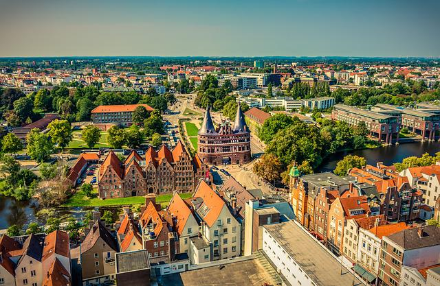 Lübeck, Holsten Gate, Aerial View, Landmark