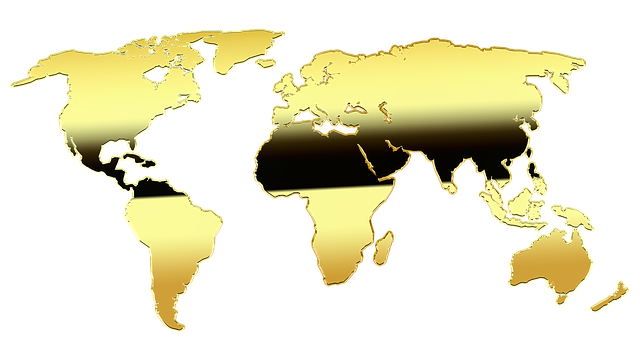 Map Of The World, Map, Gold, Graphic, Europe, Africa