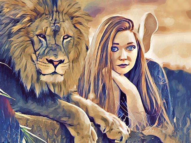 Lion, Girl, Woman, Redhead, Fantasy, Sci-fi, Africa