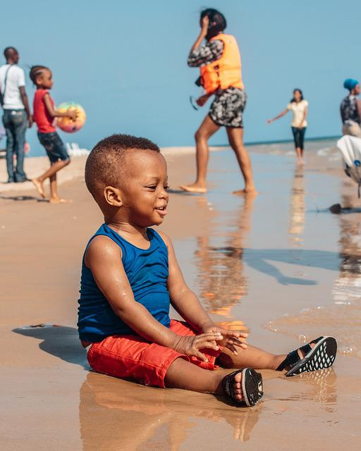 Baby, Black, African, Beach, Infant, Child, Cute, Young