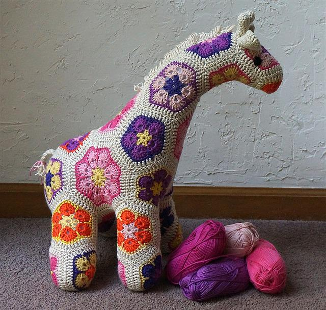 Jedi Crocheted Giraffe, African Flower Design