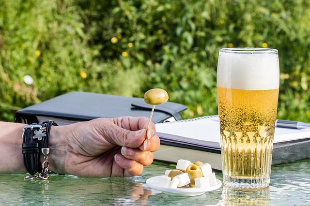 After Work, Beer Glass, Green Olives, Feta Cheese