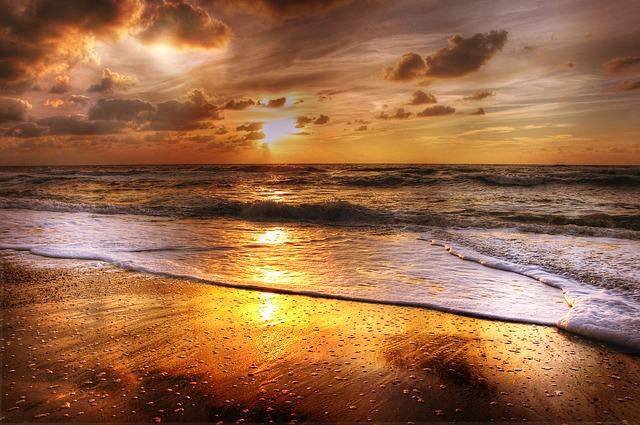 Sunset, Beach, Sea, Abendstimmung, Clouds, Afterglow