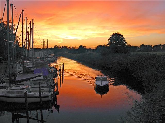 Afterglow, Marina, Ueckermünde, Abendstimmung