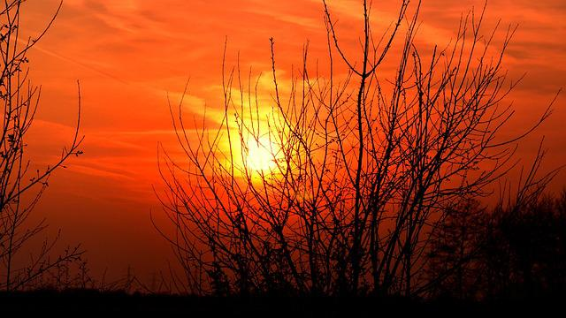 Sun, Evening, Sunset, Afterglow, Sky