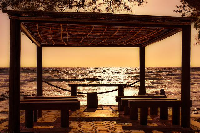 Beach, Sunset, Afternoon, Kiosk, Sea, Sun, Sunlight