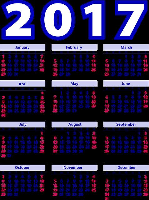 Calendar, Agenda, Schedule, Plan, 2017, Weeks, Months