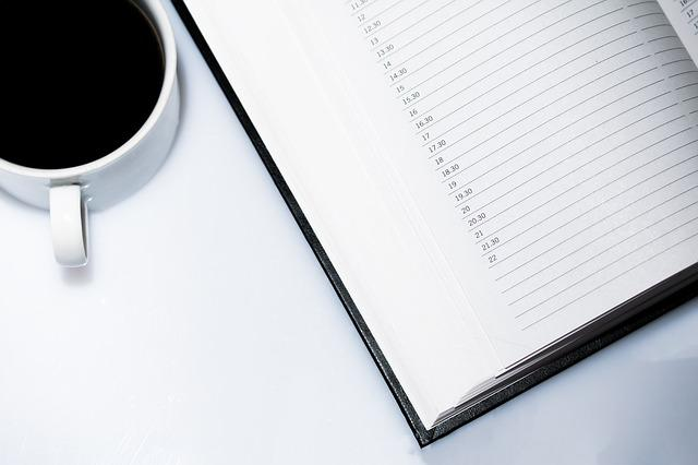 Agenda, Appointment Calendar, Coffee, Coffee Cup, Page