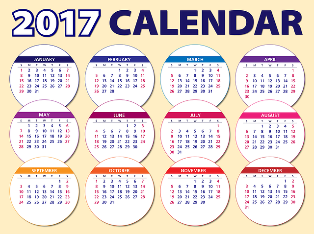 Calendar, 2017, Agenda, Schedule, Plan, Circles, Weeks