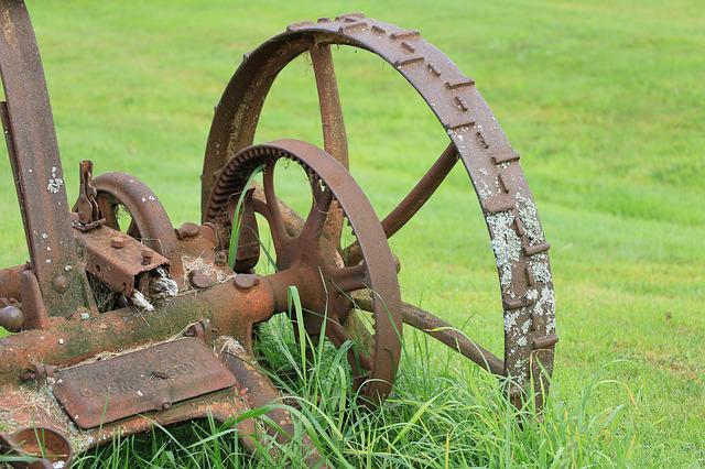 Grass, Farm, Wheel, Rusty, Agriculture
