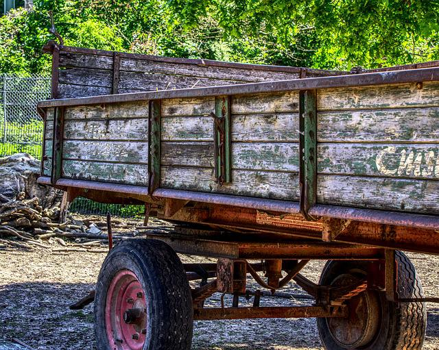 Trailers, Tractor, Agriculture, Transport, Old