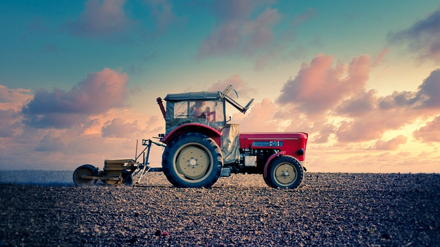 Tractor, Sunset, Landscape, Field, Sky, Agriculture